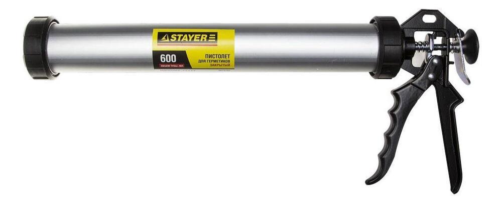 """Пистолет STAYER """"PROFI"""" закрытый, для туб, алюминиевый корпус, 600мл"""