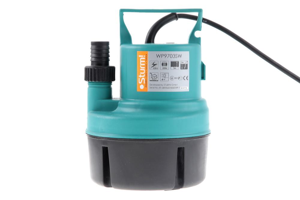 WP9703SW Насос для подъема воды с пола Sturm!, 300Вт, КАЧАЕТ С 3мм!,H=5м, 82л/мин
