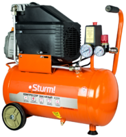 AC9316 Воздушный компрессор Sturm!, 1600 Вт, 24л, 250л/мин, 8бар, 2850 об/мин, манометр, колеса
