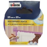 Клейкая лента малярная для деликатных поверхностей Unibob фиолетовая 25 мм х 25 м
