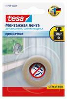 Двусторонняя монтажная лента TESA прозрачная, 19 мм x 1.5 м 55765-00000