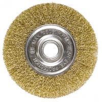 Щетка для УШМ, 125 мм, посадка 22,2 мм, плоская, латунированная витая проволока // MATRIX