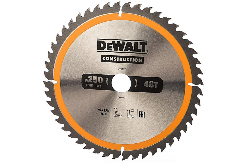 Пильный диск CONSTRUCT 250/30 48 ATB +10° DeWalt