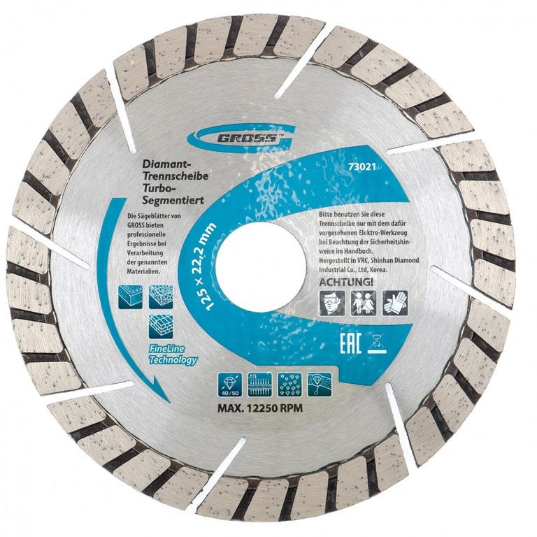 Диск алмазный ф180х22,2мм, турбо-сегментный, сухое резание // GROSS