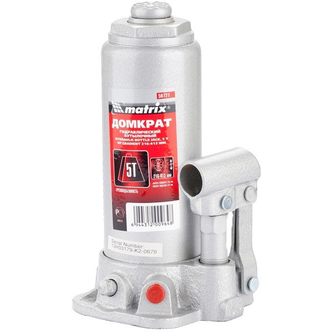 Домкрат гидравлический бутылочный, 5 т, h подъема 216–413 мм// MATRIX MASTER