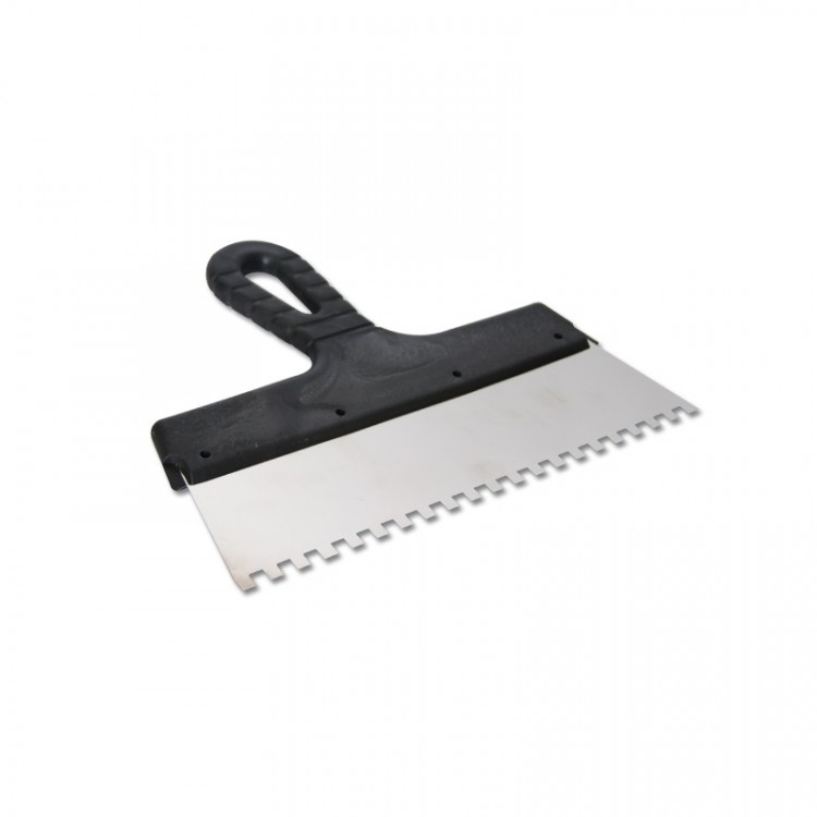 Шпатель из нержавеющей стали, 250 мм, зуб 6х6 мм, пластмассовая ручка // СИБРТЕХ