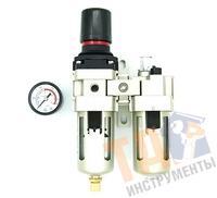 """Фильтр-влагоотделитель Pegas AC3010-02 с регулятором давления, лубрикатором 1/4"""""""