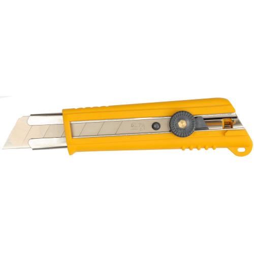 Нож OLFA с выдвижным лезвием, с противоскользящим покрытием, фиксатор, 25мм